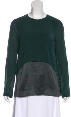 Brunello Cucinelli Monili-Trimmed Silk Blouse