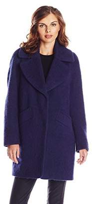 Lark & Ro Women's Brushed Wool-Blend Cocoon Coat