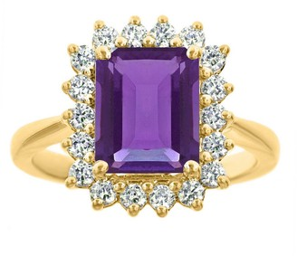 ING Premier 2.30cttw Emerald-Cut Amethyst Diamond Ring, 14K