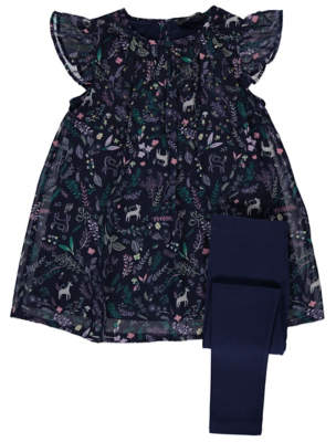 George Navy Floral Dress and Leggings Outfit