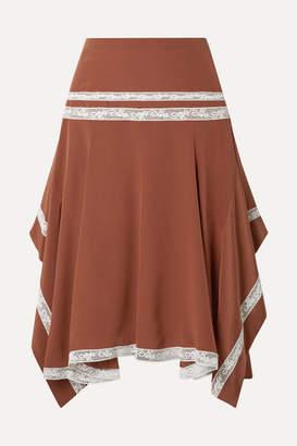 Chloé Asymmetric Lace-trimmed Silk-satin Skirt - Camel