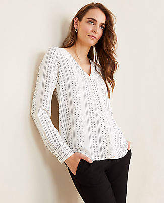 Ann Taylor Petite Geo Striped Mixed Media Pleat Front Top