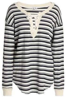 Splendid Lace-Up Striped Intarsia-Knit Tunic