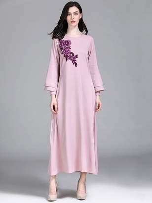 Shein Flower Applique Layered Sleeve Maxi Dress