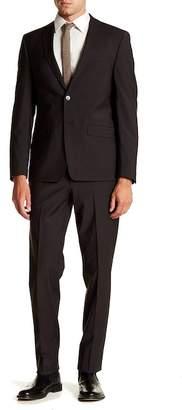 Calvin Klein Solid Dark Brown Slim Fit Two Button Notch Lapel Wool Suit