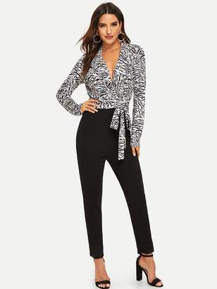 30c0ab3b456 Shein Zebra Print Combo Jumpsuit