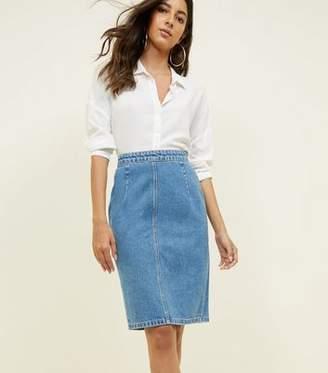 New Look Blue Denim Pencil Skirt