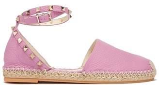 Valentino Rockstud Wraparound Strap Leather Espadrilles - Womens - Pink
