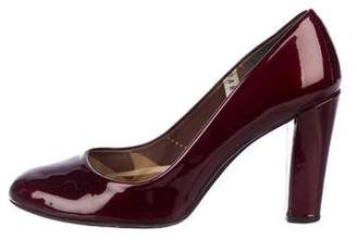 Stuart Weitzman Patent Leather Round-Toe Pumps