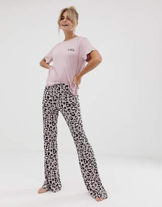 Asos Design DESIGN mix & match animal pyjama flared trouser