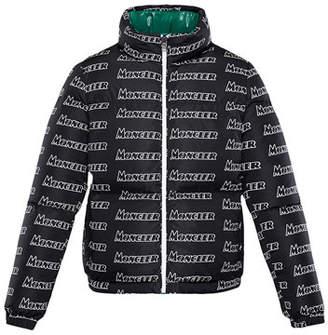 Moncler Neal Logo-Text Puffer Coat, Size 4-6