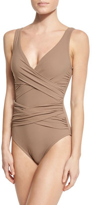 Karla Colletto Criss-Cross One-Piece Swimsuit $299 thestylecure.com