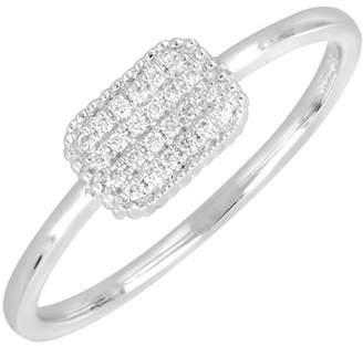 Bony Levy 18K White Gold Pave Diamond Square Ring - Size 6.5 - 0.07 ctw