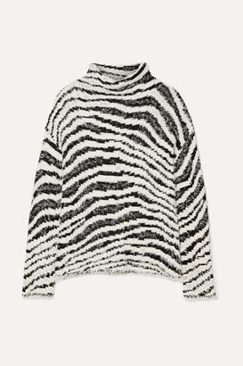 By Malene Birger Dianella Zebra-intarsia Cotton-blend Turtleneck Sweater - White