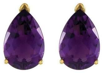 Pear-Shaped Gemstone Stud Earrings, 14K Gold