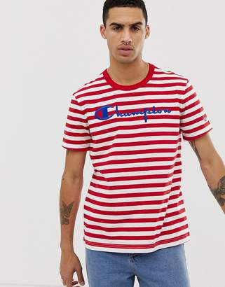 f6ea672c8 Champion striped t-shirt with large logo in red