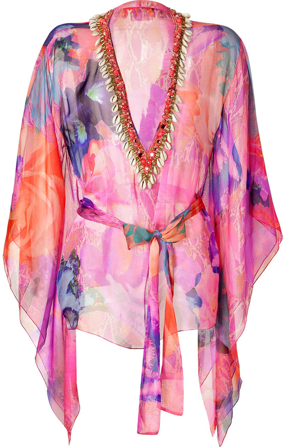 Matthew Williamson Escape Magenta-Multi Belted Short Silk Kaftan