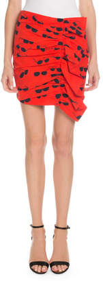 Victoria Beckham Victoria Sunglasses-Print Ruffled Mini Skirt
