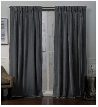 """Exclusive Home Velvet Heavyweight Pinch Pleat Top Curtain Panel Pair, 27"""" x 96"""""""