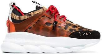 Versace multicoloured Chain Reaction leopard print leather sneakers