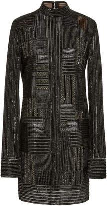 J. Mendel High Neck Embroidered Long Sleeve Mini Dress
