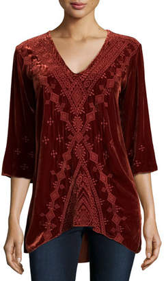 Johnny Was Shobah 3/4-Sleeve Embroidered Velvet Tunic, Petite