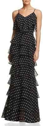 AQUA Dot-Print Ruffle Gown - 100% Exclusive $188 thestylecure.com