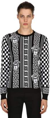 Versace Greek Motif Checkered Jacquard Sweater