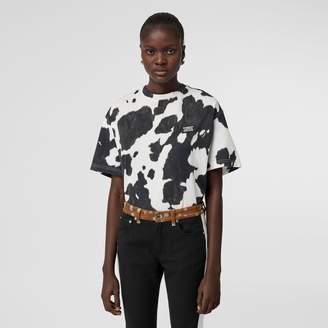 Burberry Logo Detail Cow Print Cotton Oversized T-shirt