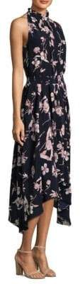 Shoshanna Ruffled High Neck Silk Dress