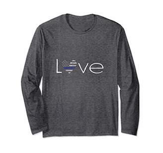 Thin Blue Line Heart Love Police/Law Enforcement Long Sleeve
