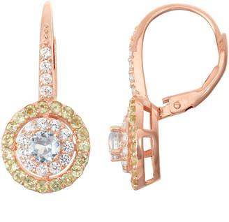 FINE JEWELRY Lab-Created Aquamarine & Genuine Peridot 14K Rose Gold Over Silver Leverback Earrings