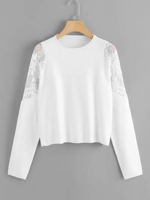 Shein Embroidered Mesh Shoulder Soft Knit Sweater