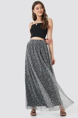 ad6744650e NA-KD Leopard Print Mesh Maxi Skirt Black