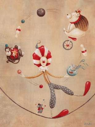 Oopsy Daisy Fine Art For Kids Vintage Circus Clown Stretched Canvas Art by Sarah Lowe, 18 by 24-Inch