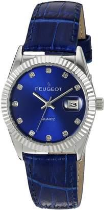 Peugeot Women's Quartz Metal and Leather Dress Watch, Color: (Model: 3045BL)