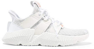 adidas Prophere Faux Leather And Rubber-trimmed Stretch-knit Sneakers - White