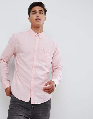 Hollister muscle fit icon logo oxford shirt in pink
