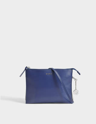 DKNY Sutton Flat Top Zip Crossbody Bag in Iris Textured Leather