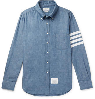 Thom Browne Button-down Collar Striped Cotton-chambray Shirt - Blue