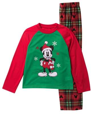 AME Mickey Mouse Holiday Plaid Fleece Pajama Set (Little Kid & Big Kid)