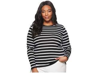 Lauren Ralph Lauren Plus Size Striped Button-Shoulder Top