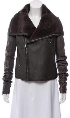 Rick Owens Wool-Trimmed Leather Jacket