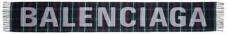 Balenciaga Multicolor Tartan Logo Scarf