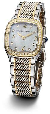 David Yurman Thoroughbred 25mm Stainless Steel Quartz with Diamond Bezel & Gold