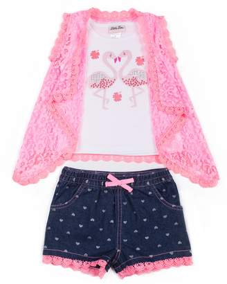 Little Lass Baby Girl Sequined Flamingo Tank Top, Lace Vest & Heart Jean Shorts Set