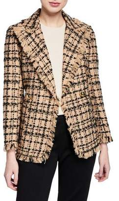 Kate Spade Bicolor Double-Breasted Tweed Blazer
