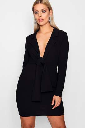 boohoo Plus Tie Front Blazer Dress