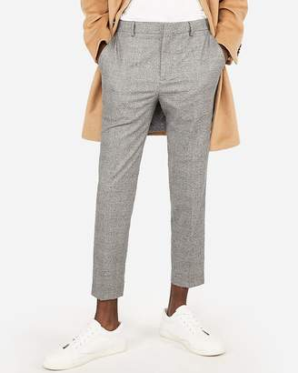 Express Gray Plaid Stretch Cropped Dress Pant
