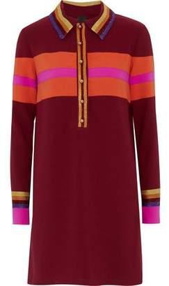 Anna Sui Metallic-trimmed Striped Crepe Mini Shirt Dress